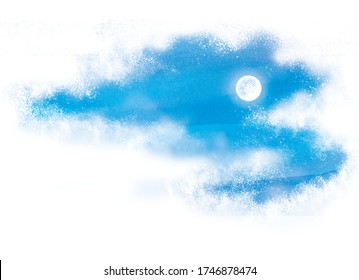 Watercolor style illustration of night sky and full moon