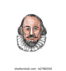 Watercolor style illustration of William Shakespeare head set on isolated white background.