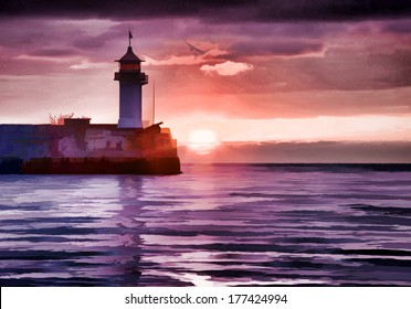 Watercolor style image of lighthouse on sunrise