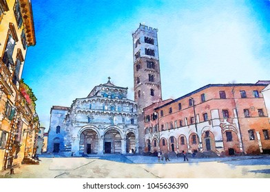 watercolor style, Italian life in Lucca