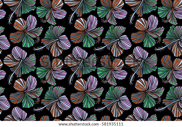 Watercolor style on a black background. Hibiscus floral pattern. Floral seamless pattern with hibiscus flowers. Design in neutral, orange and pink colors for invitation, wedding or greeting cards.