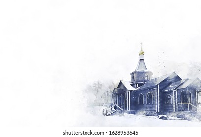 Watercolor stylization. Russian Russian Orthodox Church of St. Vladimir, Nicholas in the Russian city. Golden Ring, Russia. Orthodox church. Domes. Easter. palm Sunday. Forgiveness Sunday.