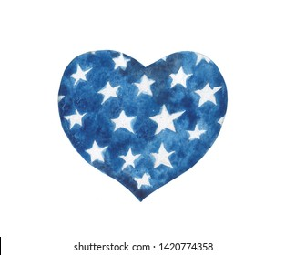Watercolor stylized heart in the colors of the USA flag. Element for design compositions on the theme of patriotic national holidays