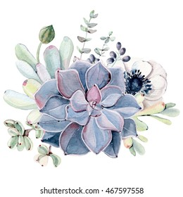 Watercolor succulent composition. Isolated objects: succulents, plant. Hand painted vintage garden illustration.Perfect for card, wedding invitation, birthday card.