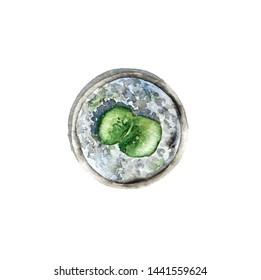 Watercolor succulent plant in pot, top view. Hand drawn illustration of lithops houseplant, isolated on white background