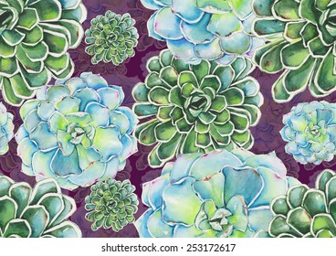 Watercolor succulents pattern on purple background