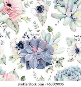 Watercolor succulents seamless pattern. Seamless texture with objects: plants, succulent, roses. Hand painted vintage gardening background.