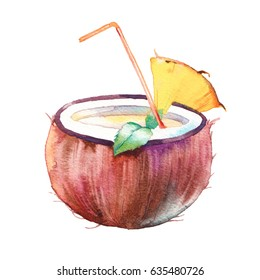 Watercolor summer cocktail. Hand drawn exotic coconut drink with pineapple slice and mint leaves. Artistic illustration isolated on white background. Tropical artwork
