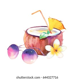 Watercolor summer cocktail. Hand drawn exotic coconut drink with pineapple slice and mint leaves, sunglasses, frangipani flower. Illustration isolated on white background. Tropical art