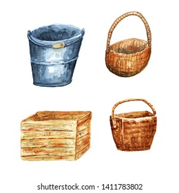 Watercolor summer container set. Baskets, box and bucketful. Gray, brown shades.