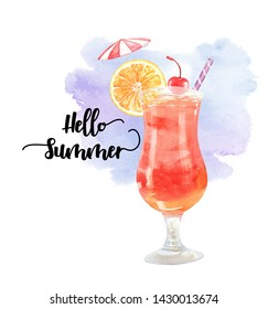Watercolor summer drink orange cherry and umbrella hand drawn illustration.Watercolor watermelon juice and watercolor background path, clipping path isolated on white background.