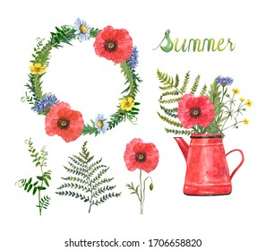 Watercolor summer flowers illustration. Wildflower bouquet in a rustic vintage tea pot, floral wreath made with poppies, herbs, grass and greenery, isolated on white background. Botanical set.