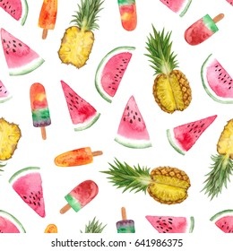 watercolor summer fruit sweets illustration. seamless pattern on a white background