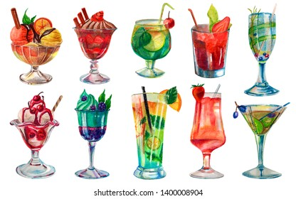 Watercolor summer illustration. Set of bright summer cocktails and desserts. Hand-painted watercolor pencils.