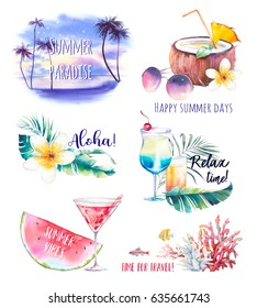 Watercolor summer labels set. Hand drawn vacation logo and badges illustrations isolated on white background. Travel, holiday, sea and season food icons.