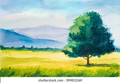 Watercolor summer landscape. Field, tree and mountains.