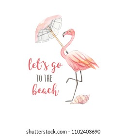 "Watercolor summer logo. Flamingo, umbrella, shell and inscription ""Let's go to the beach"". Watercolor illustration on white isolated background"