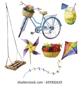 Watercolor summer pleasures set. Hand painted summer vacation objects: swing, cocktail, kite, fruit cake, bike and windmill. Illustration isolated on white background