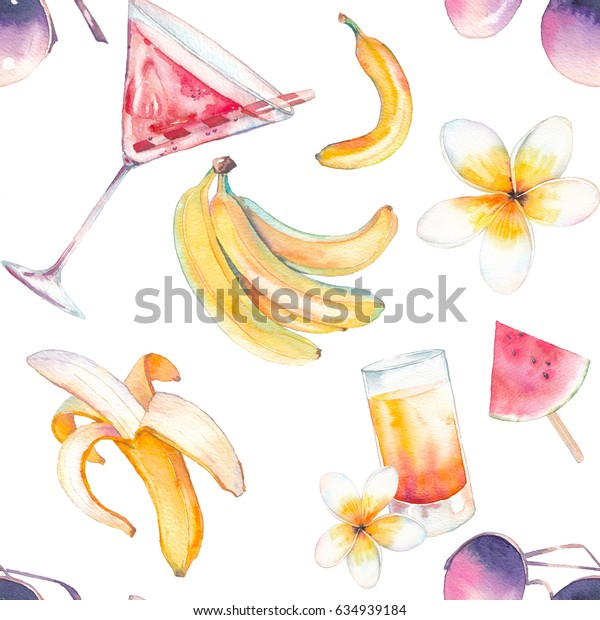 Watercolor summer seamless pattern. Hand painted repeating texture with coctail, watermelon ice cream, bananas, sunglasses, exotic flowers on white background. Tropical bright wallpaper design
