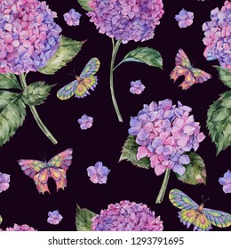 Watercolor summer seamless pattern with pink hydrangea and butterflies. Natural floral texture on black background