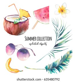 Watercolor summer set. Hand drawn collection of vacation icons: coconut milk, watermelon, fashion sunglasses, banana, palm leaves and tropical flower. Elements isolated on white background