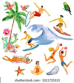 Watercolor summer set. people on the beach, sport, tropical background.
