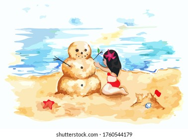 Watercolor summer travel beach sea shore sandman girl art illustration