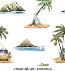 Watercolor summer tropical background, Hawaii mountains, sea, hippie bus and palm trees