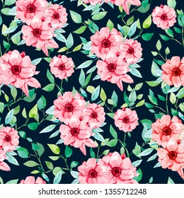 watercolor summer/spring  seamless pattern with red flowers and branches on dark background. Wallpaper decor