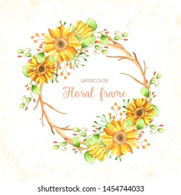 Watercolor sunflower background. Hand draw design