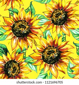 Watercolor sunflower background. Seamless pattern.