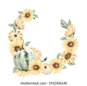Watercolor sunflower clipart, Boho sunflower for wedding invitation or Thanksgiving. Summer garden flowers botanical illustration.