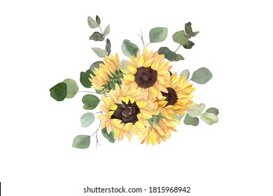 Watercolor sunflower and eucalyptus bouquet isolated on white. Concept for stickers, scrapbooking, sublimation printing, apparel, wedding suite design, Thanksgiving crafts, cards, invitations