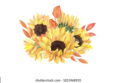 Watercolor sunflower, fall leaves, physalis bouquet isolated on white. Concept for stickers, scrapbooking, sublimation printing, apparel, wedding suite design, Thanksgiving crafts, cards, invitations