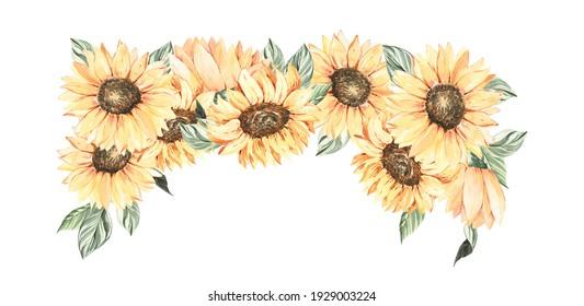 Watercolor sunflower  frame clipart, Boho sunflower  wreath for wedding invitation or Thanksgiving. Summer garden flowers botanical illustration.
