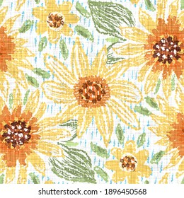 Watercolor sunflower motif background. Hand painted earthy whimsical seamless pattern. Modern floral linen textile for spring summer home decor. Decorative scandi style colorful nature all over print