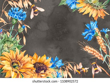 Watercolor sunflowers, cornflowers, bees, wheat, ears of rye and oats card. Ideal greeting card, invite or save the date dark background template. Hand paint raster illustration frame.