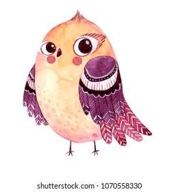 Watercolor super cute bird. Hand drawn animal illustration