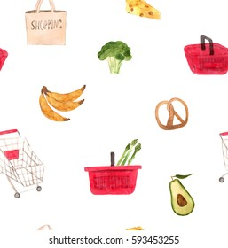 Watercolor supermarket set, hand drawn illustration with shop equipment elements and goods