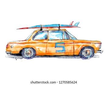 Watercolor surf car illustration