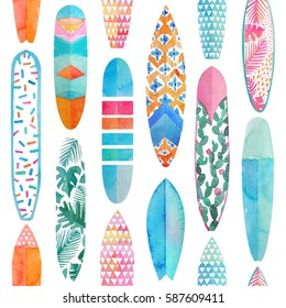 Watercolor surfboard seamless pattern. Colorful surfing summertime illustration in watercolour style.