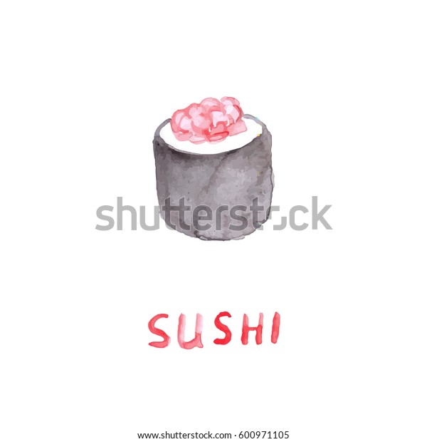 Watercolor sushi - for menu, poster and other