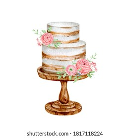 Watercolor sweet cake dessert for bakery logo. High quality illustration hand painted for birthday decorations and creating logo design