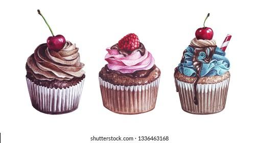 watercolor sweet capcake