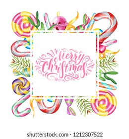 Watercolor sweet frame isolated on a white background with candies, lollipops and plants. Square border with handwritten lettering Merry Christmas