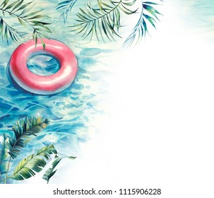 Watercolor swimming pool background for invitation, postcard or web.Floating ring, tropical leaves and sparkle water. Hand painted summer art. Vacation card design with pool float
