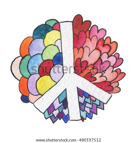 Watercolor Symbol Special World Peace Day Stock Illustration