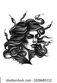 Watercolor tattoo portrait of Meduza Gorgona