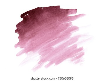 Watercolor Tawny Port burgundy brush paint paper texture isolated stroke on white background for print, card, tag. Hand drawn striped illustration element for wallpaper, text and design.