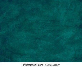 Watercolor teal blue-green background painting. Watercolour dark blue backdrop.